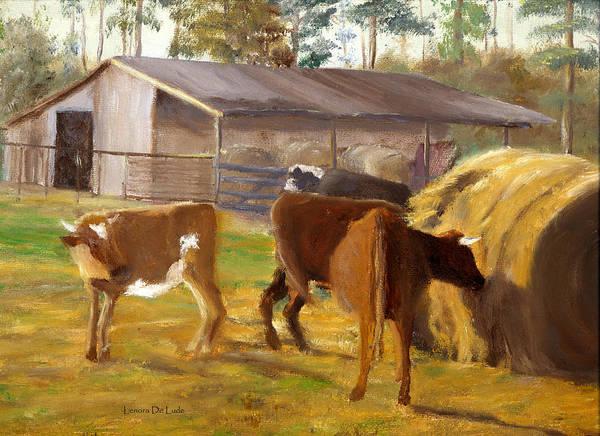 Cows Hay And Barn In Louisiana Art Print