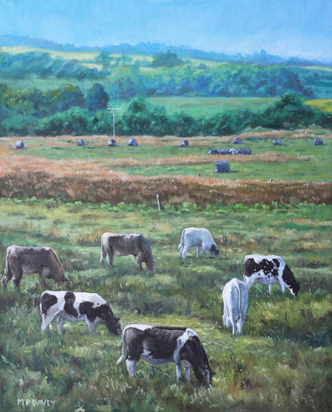 Painting - Cows In A Field In The Devon Countryside by Martin Davey