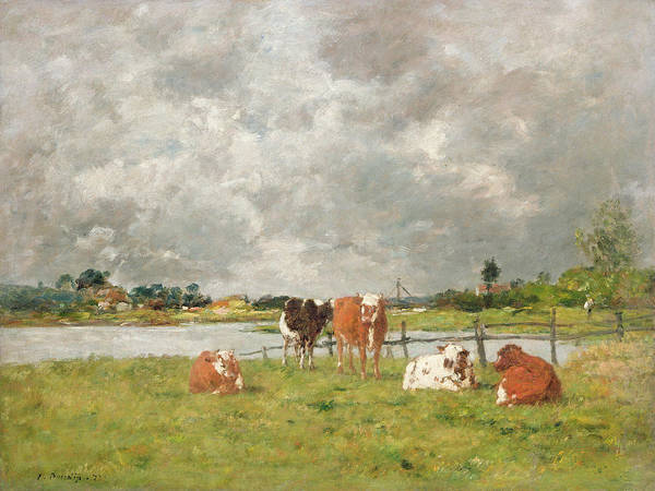 Atmospheric Painting - Cows In A Field Under A Stormy Sky, 1877 by Eugene Louis Boudin