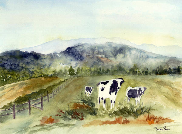 Wall Art - Painting - Cows In Vermont  by Peggy Maunsell