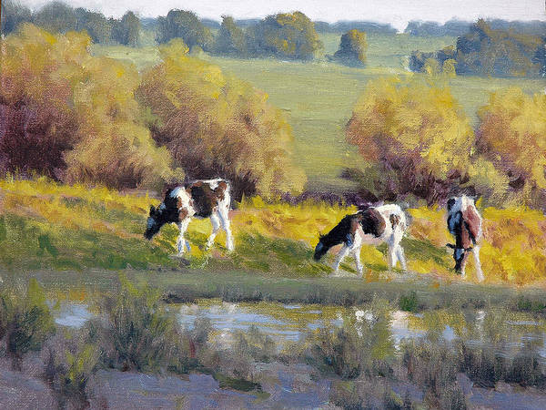 Wall Art - Painting - Cows Near A Stream by Armand Cabrera