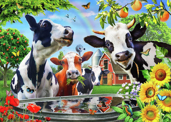 Wall Art - Painting - Cow's Paradise by MGL Meiklejohn Graphics Licensing