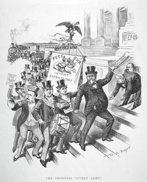 D.w Painting - Coxey's Army Cartoon, 1894 by Granger