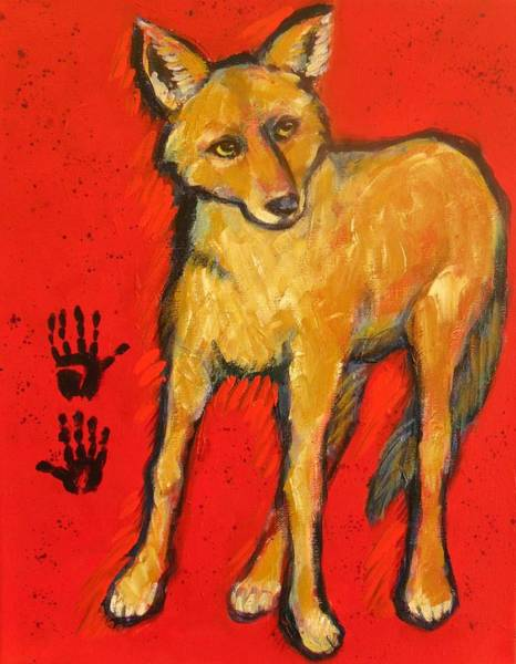 Prairie Painting - Coyote And Hand Prints by Carol Suzanne Niebuhr