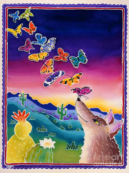 Batik Wall Art - Painting - Coyote And The Laughing Butterflies by Harriet Peck Taylor