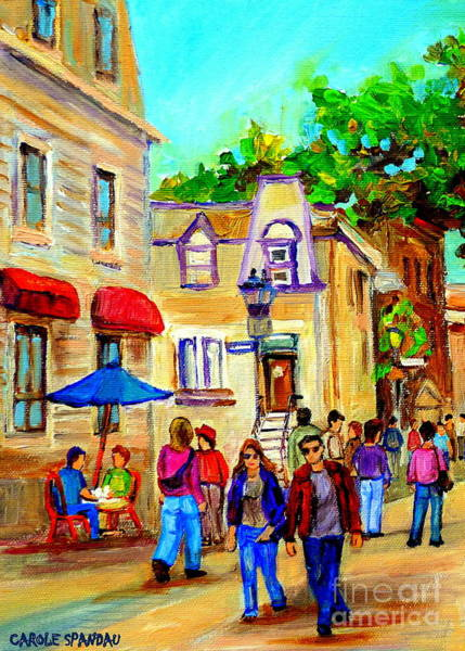 Painting - Cozy Dinner Under Blue Umbrella Summer Stroll Prince Arthur Montreal Paintings Carole Spandau by Carole Spandau