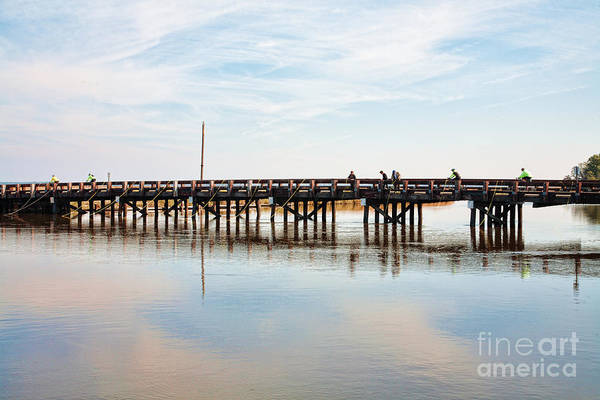 Photograph - Crabbers And Cyclists Share Bridge At Blackwater  National Wildlife Refuge Near Cambridge Maryland  by William Kuta