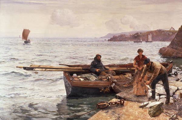 Mooring Painting - Crabbers Bait by Charles Napier Hemy