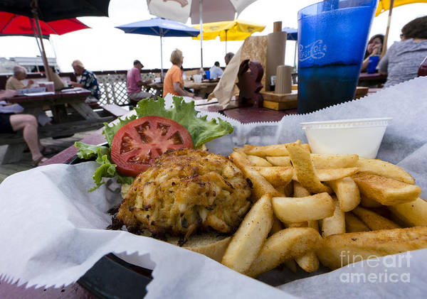 Wall Art - Photograph - Crabcake Sandwich And Fries On A Seaside Deck In Rock Hall by William Kuta