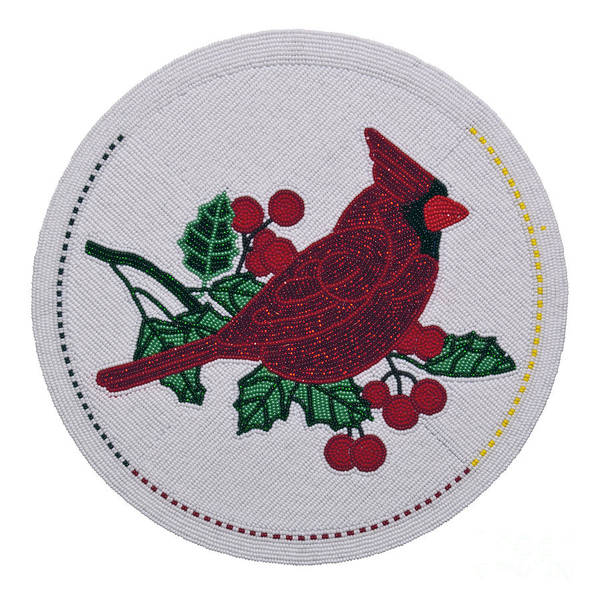 Digital Art - Cradleboard Beadwork Winter Cardinal by Douglas K Limon