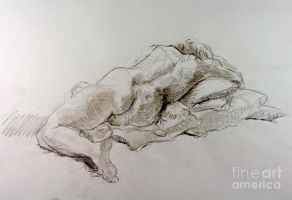 Nipples Drawing - Craig Weeping by Andy Gordon
