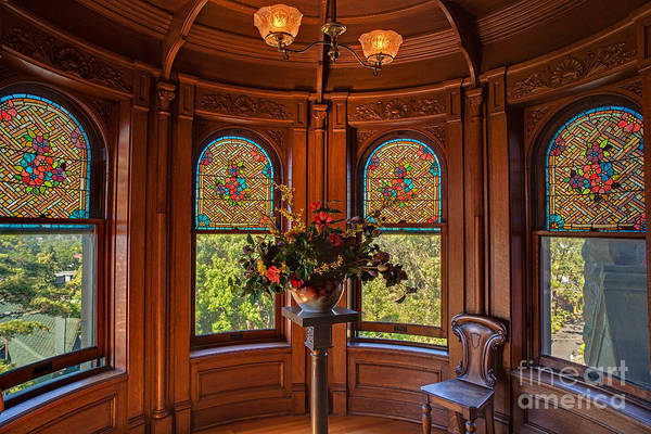 Victoria Harbor Wall Art - Photograph - Craigdarroch Castle Stained Glass by Mike Reid