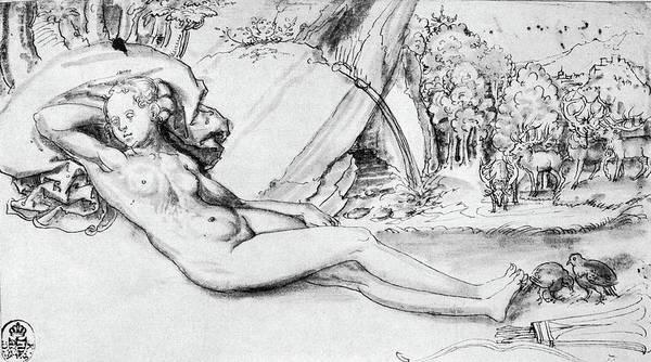 Wall Art - Drawing - Cranach Nymph by Granger