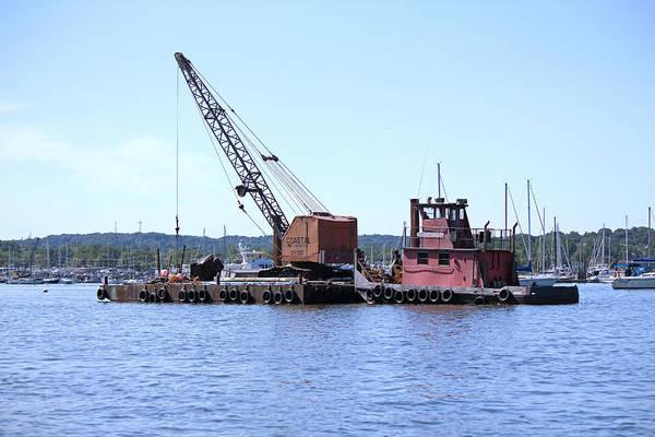 Photograph - Crane On Barge Huntington Harbor by Susan Jensen