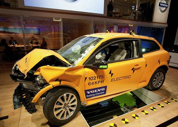 Detroit Auto Show Photograph - Crash-tested Volvo C30 Electric Car by Jim West