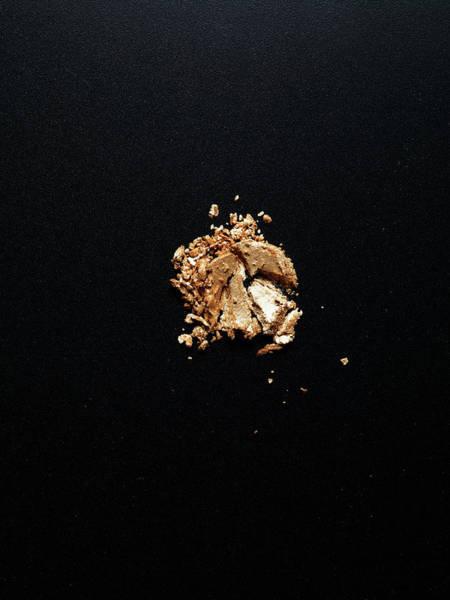 Make Up Photograph - Crashed Gold Eye Shadow On Black by Level1studio