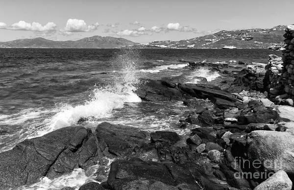 Photograph - Crashing At Mykonos Mono by John Rizzuto