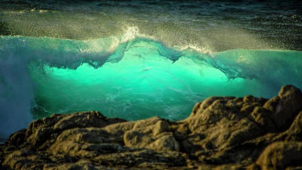 Carmel By The Sea Photograph - Crashing Pacific Ocean Waves, Green by Sheila Haddad