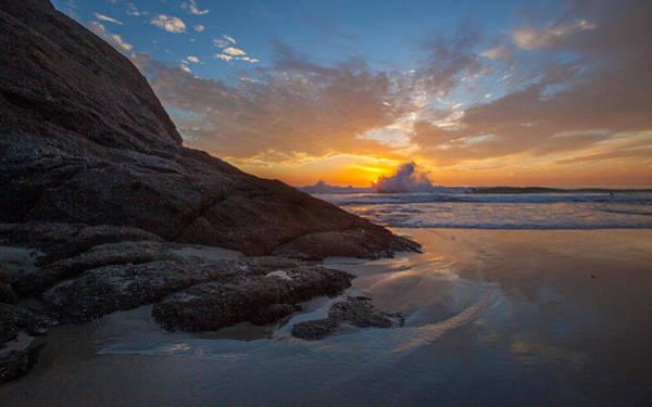 Photograph - Crashing Waves At Sunset by Cliff Wassmann