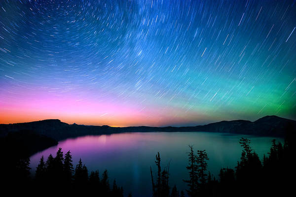 Photograph - Crater Lake Aurora  by Andrew Kumler