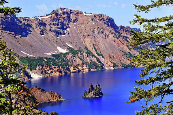 Crater Lake Photograph - Crater Lake Reflection, Phantom Ship by William Perry