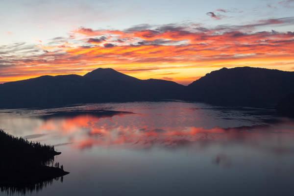Crater Lake Np Photograph - Crater Lake Sunrise by Wolfgang Woerndl