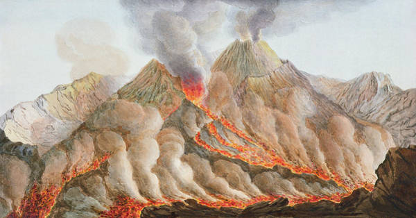 Lava Drawing - Crater Of Mount Vesuvius From An by Pietro Fabris