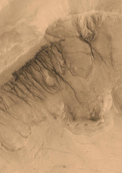 Contour Map Photograph - Crater On Mars by Anonymous