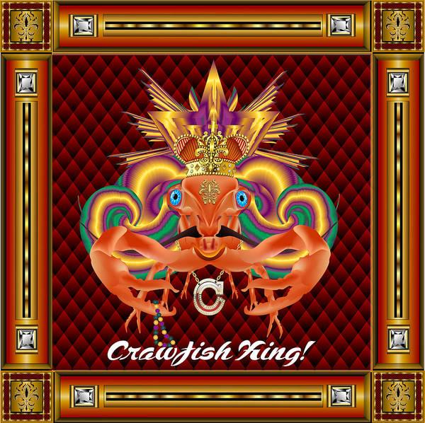Craw Wall Art - Digital Art - Crawfish-king-1 Vector Sample by Bill Campitelle