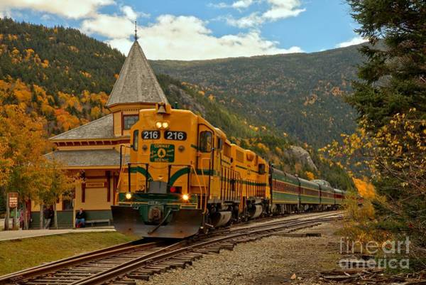 Photograph - Crawford Notch Scenic Railroad At Crawford Depot by Adam Jewell