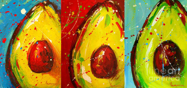 Veggies Painting - Crazy Avocados Triptych  by Patricia Awapara