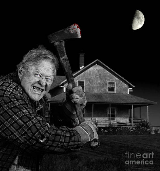 Axeman Wall Art - Photograph - Crazy Axeman And Old Cedar Shingle House by Sylvie Bouchard