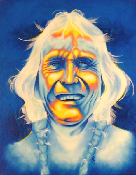 Native American Blanket Painting - Crazy Man by Robert Martinez