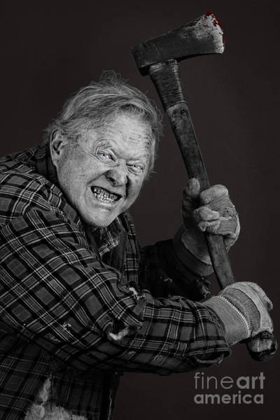 Axeman Wall Art - Photograph - Crazy Old Man With Axe by Sylvie Bouchard