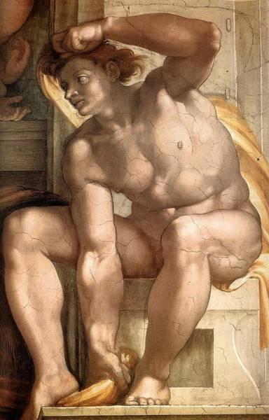 Apostolic Palace Wall Art - Painting - Creation Of Eve - Ignudo Detail by Michelangelo Buonarroti