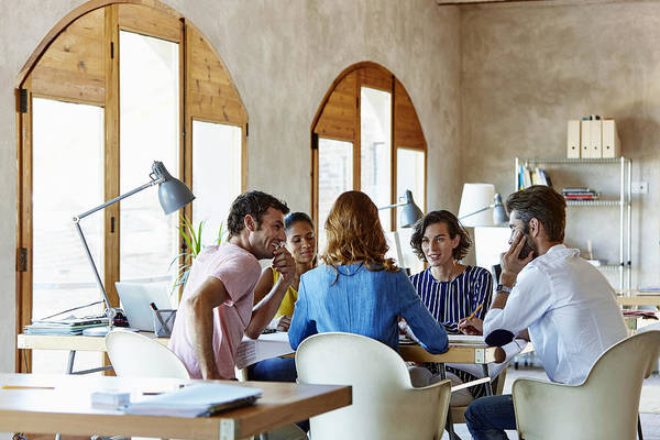 Creative Business People Discussing In Office Art Print by Morsa Images