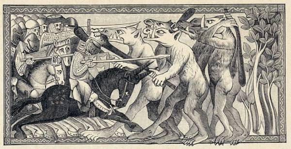 Folklore Drawing - Creatures Encountered By  Alexander by Mary Evans Picture Library