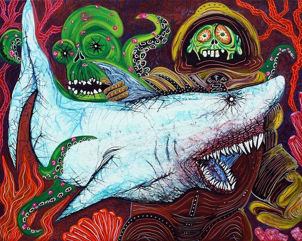 Wall Art - Painting - Creatures Of The Deep by Laura Barbosa