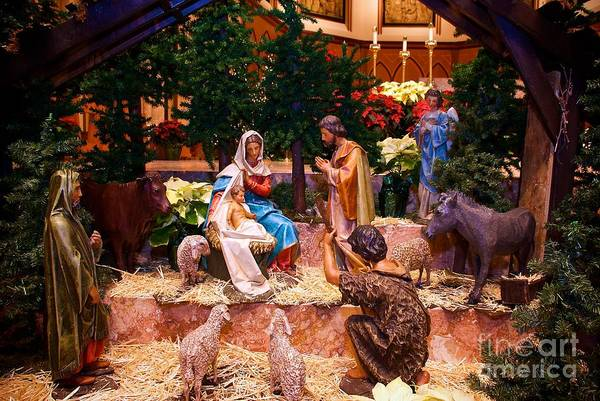 Photograph - Creche Scene At Holy Name Cathedral Chicago by Frank J Casella