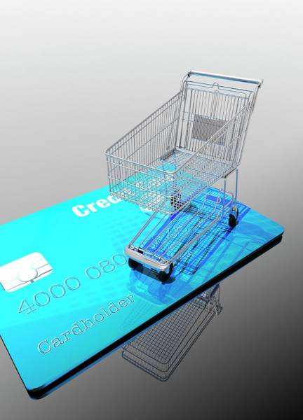 Commercialism Photograph - Credit Card And Trolley by Victor Habbick Visions