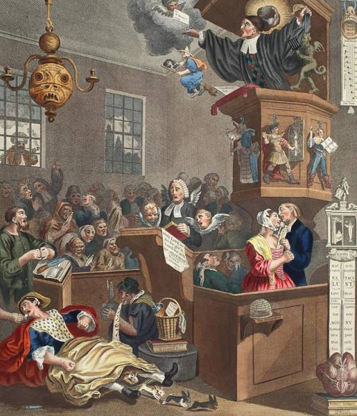 Evil Drawing - Credulity, Superstition And Fanaticism by William Hogarth