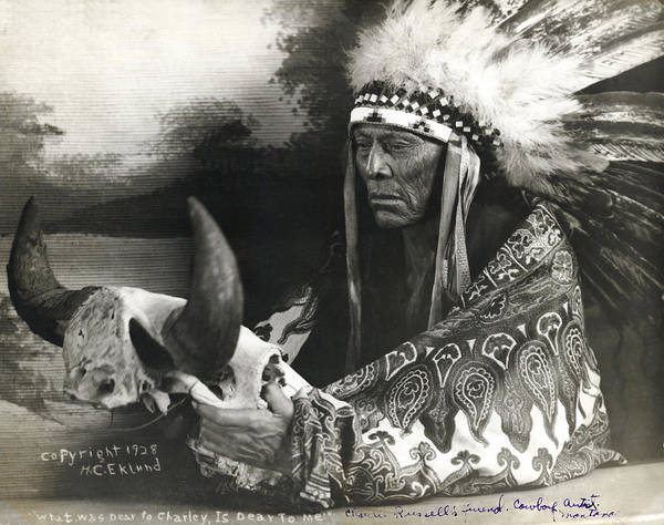 Montana State Photograph - Cree Chief With Buffalo Skull by H.C. Eklund