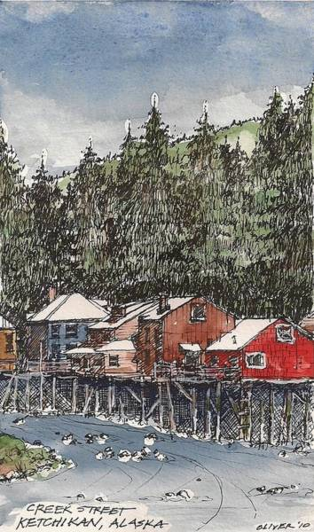 Pen And Ink Mixed Media - Creek Street In Ketchikan by Tim Oliver