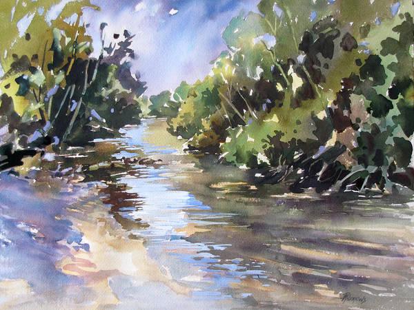Sand Creek Painting - Creekside Sandbar by Rae Andrews
