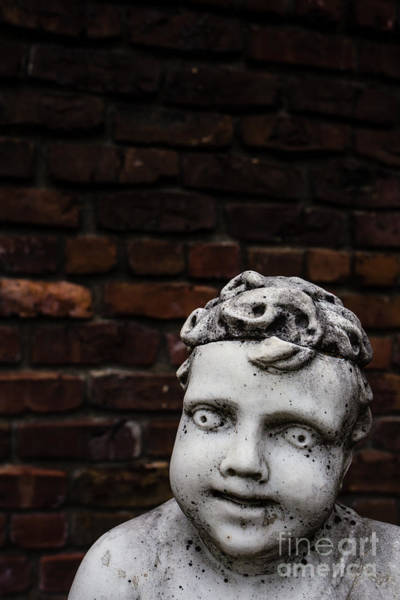 Photograph - Creepy Marble Boy Garden Statue by Edward Fielding