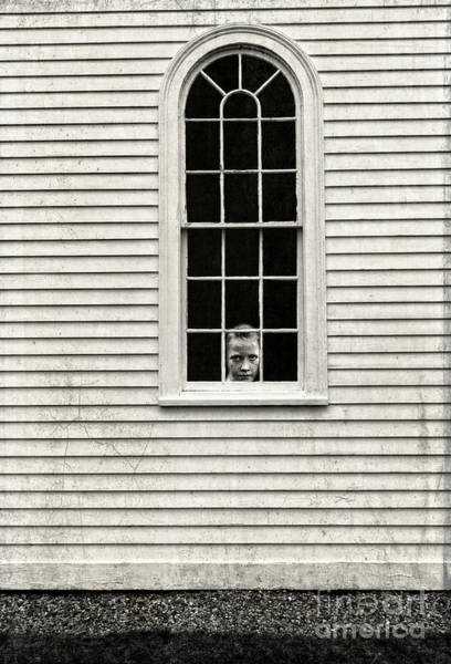 Photograph - Creepy Victorian Girl Looking Out Window by Edward Fielding
