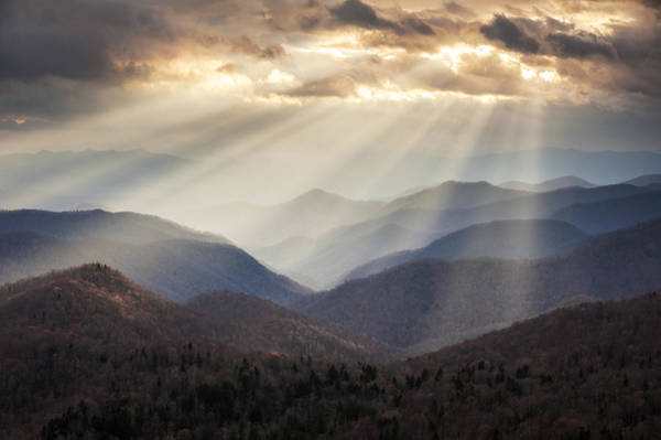 Beam Of Light Photograph - Crepuscular Light Rays On Blue Ridge Parkway - Rays And Ridges by Dave Allen