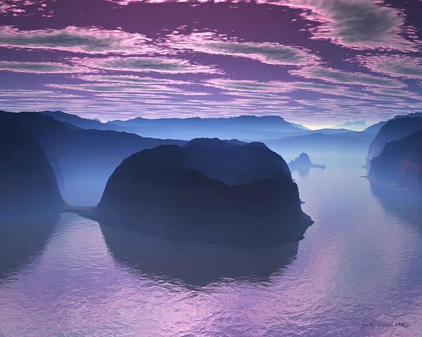 Digital Art - Crescent Bay 2 Alien Landscape by Judi Suni Hall