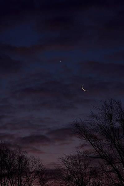 Crescent Moon And Venus Rising Art Print