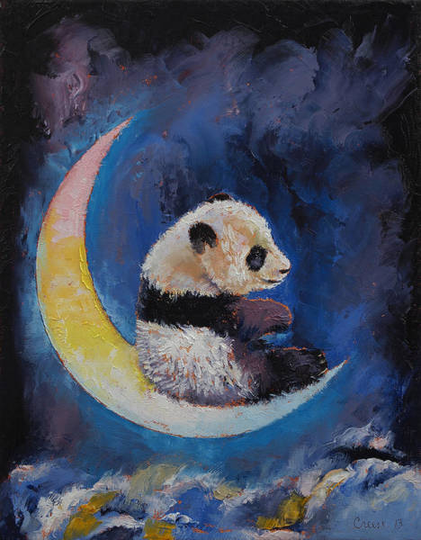 Panda Painting - Crescent Moon by Michael Creese